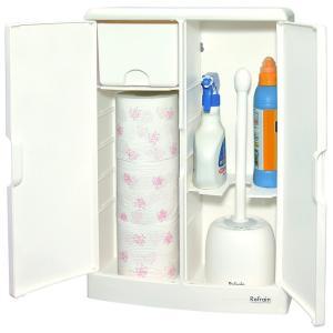 トイレ収納ケース トイレットペーパー 収納 掃除用具入れ 大容量 収納棚 生理用品 トイレ 扉つき|usagi-shop