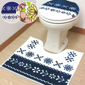 トイレふたカバー トイレマット 2点セット 普通蓋カバー トイレラグ|usagi-shop