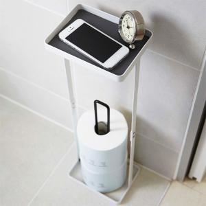 トイレットペーパーホルダー トイレ収納 プレート付きトイレットペーパースタンド 山崎実業|usagi-shop