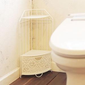 トイレコーナーラック おしゃれ トイレ収納 コーナーラック 引出し付き 角 姫系 ゴシック|usagi-shop