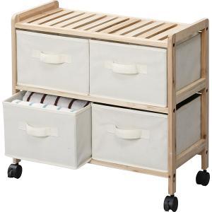 ワゴンチェスト チェスト キャスター付きチェスト 天然木 木製チェスト ウッド 収納チェスト 収納棚 引き出し ファブリック|usagi-shop
