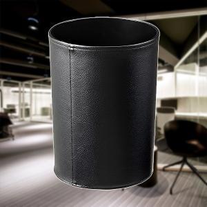 レザー調で高級感を演出した丸型のゴミ箱。  オフィスや書斎などのデスク横に置いておくとワンランク上の...