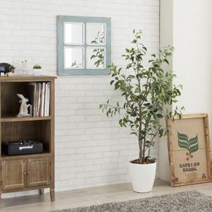 ウォールミラー 正方形 北欧 アンティーク調 おしゃれ 壁掛け 鏡 インテリア 木製フレーム|usagi-shop
