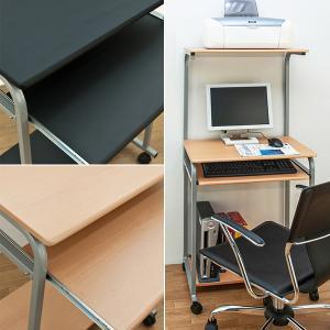 パソコン机 パソコンデスク スリム ラック 机 棚付|usagi-shop