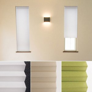 ハニカムシェード 小窓用 スリット窓 突っ張り式 35×90 断熱 保温 遮光|usagi-shop