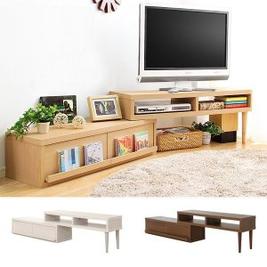 テレビ台 完成品 伸縮式 テレビボード TVボード TV台 ローボード コーナー L字型 変形 usagi-shop