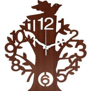 掛時計 壁掛け アナログ おしゃれ ナチュラル 北欧 葉っぱ 木 植物 鳥 usagi-shop