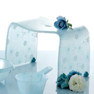 風呂椅子 アクリル おしゃれ 花柄 かわいい ガーリー 高さ 25cm usagi-shop