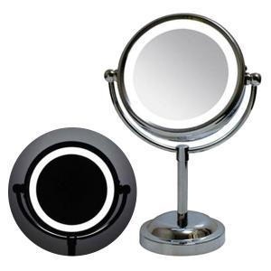 鏡 卓上 スタンドミラー 拡大鏡 3倍 LED ライト付き 照明 化粧 メイク ミラー|usagi-shop