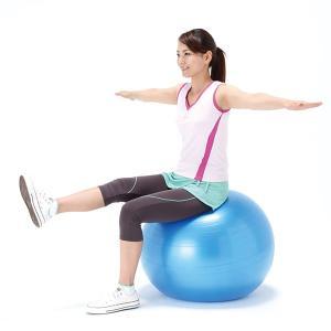 バランスボール 65cm 固定 台座 エキスパンダー ベルト 椅子 青 ブルー|usagi-shop