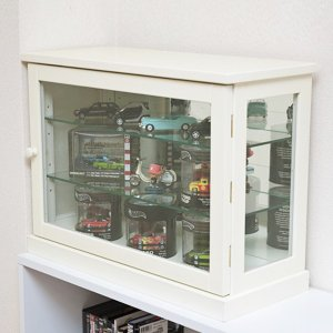 コレクションケース 背面鏡 ミラー 小さめ 小さいサイズ シンプル 棚 扉あり ワイド 横型 フィギュア 模型 おもちゃ|usagi-shop