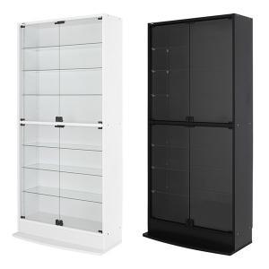 コレクションラック ディスプレイ ケース 両開き 白 ホワイト 黒 ブラック ロック式 巾木避け|usagi-shop