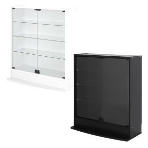 コレクションラック ロータイプ 低い ディスプレイケース ブラック ホワイト おしゃれ|usagi-shop