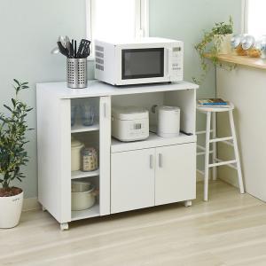 キッチンワゴン キッチンカウンター キャスター付き 白 ホワイト 食器棚 コンパクトの写真