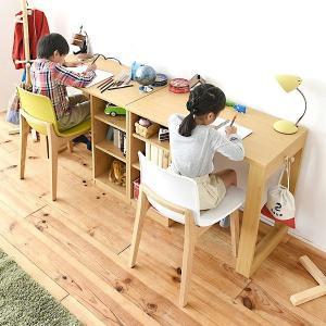 パソコンデスク 勉強机 2個セット シンプル 棚つき PCテーブル 北欧 ナチュラル|usagi-shop