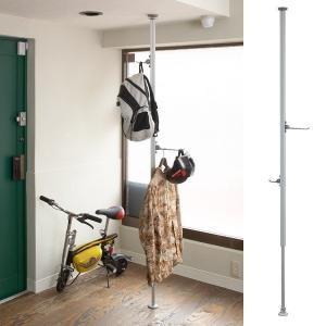 突っ張り収納 天井 つっぱりハンガー フック付き おしゃれ 突っ張り棒 ポールハンガー スタンド リビング ホビーハンガー|usagi-shop
