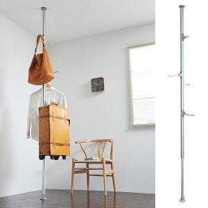 つっぱり収納 突っ張りハンガー リビング 玄関 フック付き 天井 つっぱり ツッパリ 突っ張り棒 ポールハンガー ポールスタンド|usagi-shop