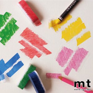 マスキングテープ 手書き風 くれよん 水彩絵の具 色鉛筆 MT art tape usagi-shop