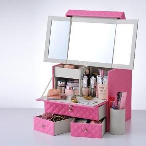 メイクボックス 鏡付き コスメボックス 三面鏡 持ち運び ネイル プロ 大容量 メイク道具 収納 化粧品|usagi-shop