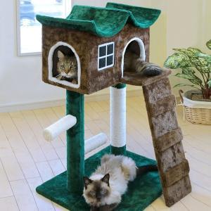 キャットタワー 置き型 おしゃれ 据え置き スリム キャットハウス 2段 爪とぎ 階段 コンパクト 省スペース|usagi-shop