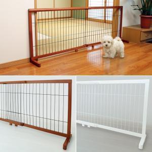 犬用ゲート ペットゲート 大型犬 仕切り 中型犬 間仕切り 伸縮 マンション 廊下 階段 白 ホワイト 木目 ケージ|usagi-shop
