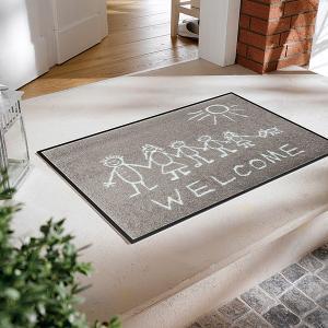 玄関マット おしゃれ 室内 屋外 ラバー 北欧 洗える かわいい 人 人間 落書き風 絵|usagi-shop