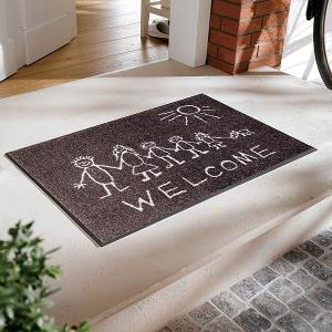 玄関マット おしゃれ 室内 屋外 人 人間 落書き風 絵 ラバー 北欧 洗える かわいい|usagi-shop
