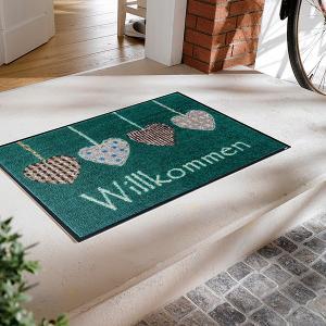 玄関マット おしゃれ 室内 屋外 ラバー 北欧 洗える ハート 緑 グリーン|usagi-shop