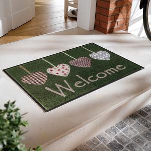 玄関マット おしゃれ 洗える ハート 緑 グリーン 室内 屋外 ラバー 北欧|usagi-shop