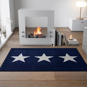 ラグマット 星 ブルー 青 おしゃれ 北欧 洗える ラグ カーペット 柄 マット|usagi-shop