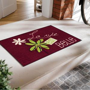ドアマット 玄関マット 洗える 屋外 おしゃれ 北欧 屋内 薄手 水洗い ラバー 薄型 葉っぱ 赤 レッド|usagi-shop