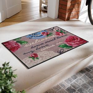 ドアマット バラ 薔薇 ばら ローズ 花 高級感 屋外 おしゃれ 屋内 薄手 水洗い ラバー 薄型 玄関マット 洗える|usagi-shop