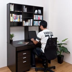 棚付デスク 120cm 棚つきデスク 棚付きデスク 机 ブラウン 茶色|usagi-shop