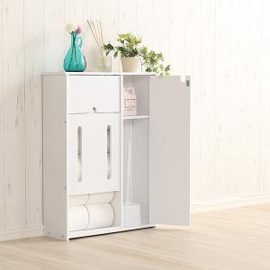 トイレ収納ラック 薄型 トイレットペーパー トイレブラシ トイレ用品 扉付き 可動棚 ワイド|usagi-shop
