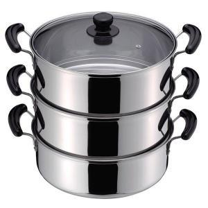 蒸し鍋 3段 蒸し器 鍋 ステンレス IH対応 30cm