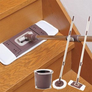 回転モップ モップ 掛け 収納 床掃除 フローリング 掃除 洗える 洗浄 脱水|usagi-shop