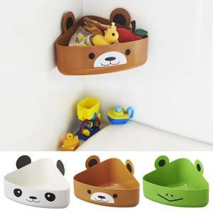 バスルームのコーナーに吸盤を取り付けるだけ!かわいい動物のおもちゃBOXです。 底部分はザル(網目)...