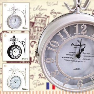 壁時計 ブラケット 掛け時計 アイアン ハンギング アンティーク調 北欧 ヨーロピアン おしゃれ 白 黒 姫系 レトロ 掛時計 usagi-shop