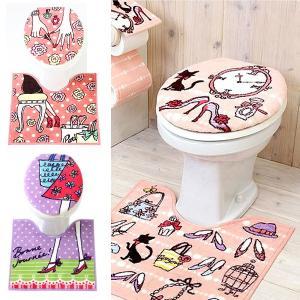 U型トイレふたカバー O型用トイレ蓋カバー 普通タイプ 足元マット トイレマット おしゃれ かわいい 女の子 ガーリー 北欧 パリ ピンク 2点セット|usagi-shop