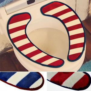 便座シート 便座カバー 簡単 貼るだけ 置くだけ 低反発 トイレ吸着シート 西海岸 デニムキルト トイレカバー メンズ ボーダー柄|usagi-shop