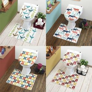 トイレマットセット 北欧 おしゃれ お花 2点 洗浄便座用 特殊 トイレ フタカバー 動物|usagi-shop