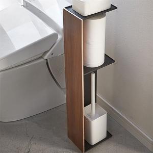 美しい木目でインテリア性のあるスタイリッシュなデザインのスリムトイレラックです。 トイレブラシやトイ...