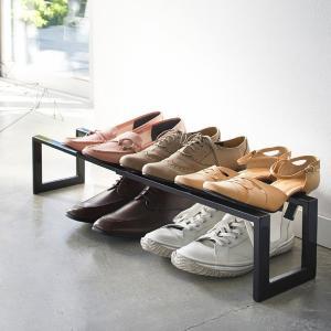 伸縮シューズラック 1段 伸縮式 玄関収納 靴置き 山崎実業|usagi-shop
