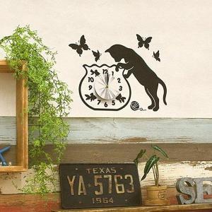 ウォールクロック ウォールステッカー 時計 猫 ねこ シール 壁 usagi-shop