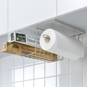 キッチン吊り下げラック 戸棚下 台所 収納 クッキングペーパー ラップ アルミホイル 整理 収納 スチール製|usagi-shop