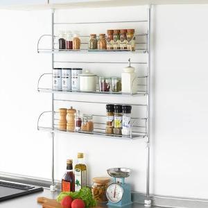 調味料ラック つっぱり キッチンラック ワイド スチールラック ステンレス キッチン収納 台所 3段 おしゃれ|usagi-shop