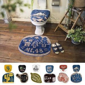 トイレマットセット 2点 洗浄便座用 特殊 北欧 おしゃれ トイレフタカバー 蓋 カバー トイレマット サボテン|usagi-shop