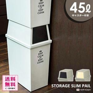 ゴミ箱 フタ付き おしゃれ スリム 45リットル 縦型 キッチン リビング|usagi-shop