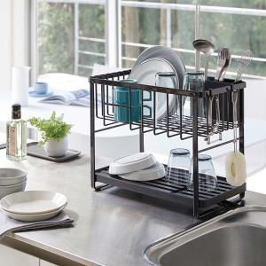 水切りラック 水切りかご 2段 キッチン用品 食器 省スペース 山崎実業|usagi-shop