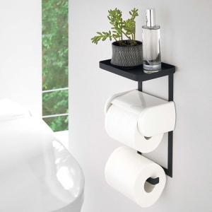 トイレットペーパーホルダーラック トイレ用 収納ラック おしゃれ シンプル トイレットペーパー 予備 ストック 山崎実業|usagi-shop